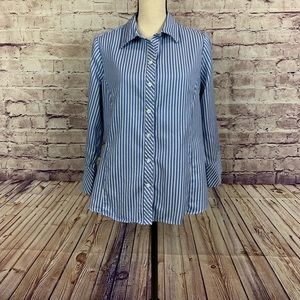 Merona Blue Striped Buttoned Front Shirt